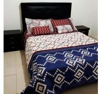 Colcha para cama bordados geométricos