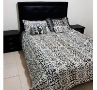 Colcha para cama bordados Blanco y Negro